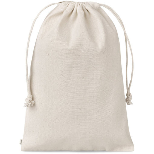 The Okiyo Chikara Cotton Maxi Drawstring Pouch is made from 100% cotton, with a drawstring closure. Available in a natural tone