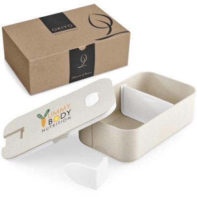 The Okiyo Machi Wheat Straw Lunch Box comes packed inside a Okiyo design gift box.