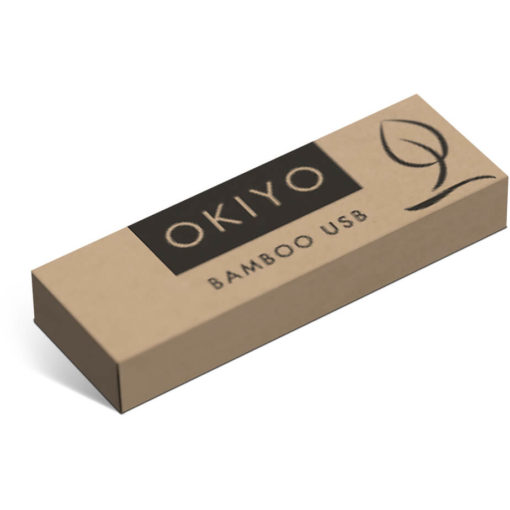 The Okiyo Bakemono 32GB Bamboo Memory Stick is a bamboo swivel memory stick with a 32GB capacity, Packaged in a pre branded gift box