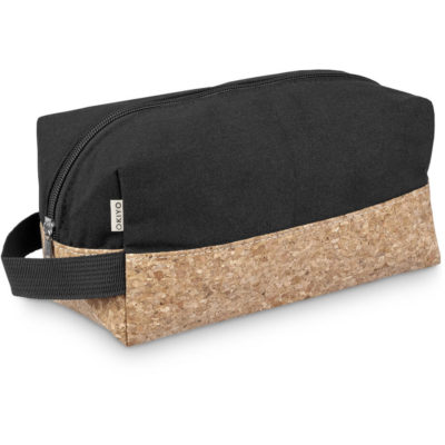 The Okiyo Koruku Cork Toiletry Bag is a cotton toiletry bag with a finger loop and cork base panelling