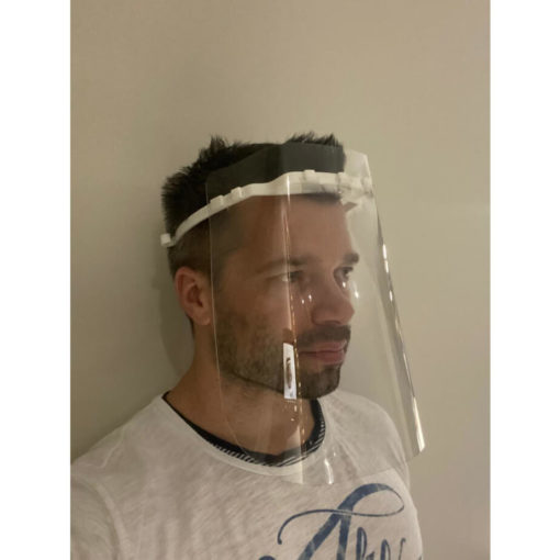 Medical Grade Face Shield Visor Made Of Plastic Front View