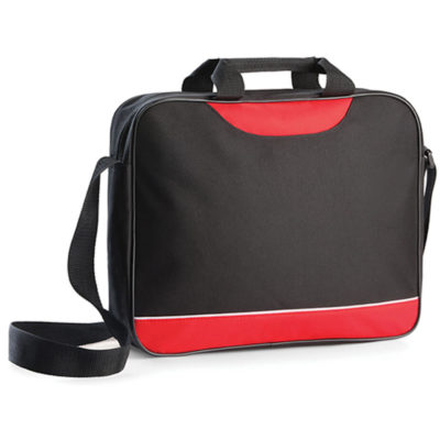 The Shorewood Document Bag is made from 600 denier with a long shoulder strap, small carry handles and it comes in the colour black with red trimmings.
