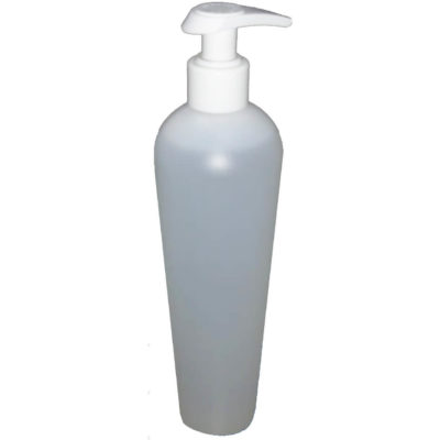 The 500ml Hand Sanitiser Lotion Nozzle is a plastic bottle with a pump nozzle.