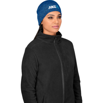 The New Hampshire Melange Beanie is made from acrylic rib knit.
