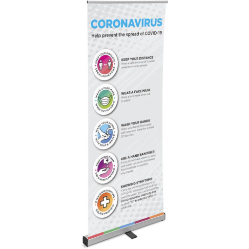 The Venus Covid-19 Pull-Up Banner is a lightweight grey pull up banner on an aluminum frame. Made from PVC with bright artwork to help raise awareness for COVID-19. Packaged in an oxford fabric carry bag