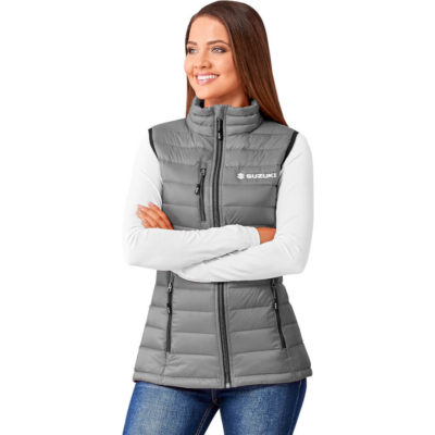 The Ladies Scotia Light Down Bodywarmer is a grey 100% nylon dull cire 380T bodywarmer with a 80% down and 20% feather filling. With a padded and quilted liner and outing, zip pockets with branded zip puller, full zip with branded zip puller, chin protector, wind placket, chest zip pocket with branded zip puller and elasticated binding on the hem and armholes