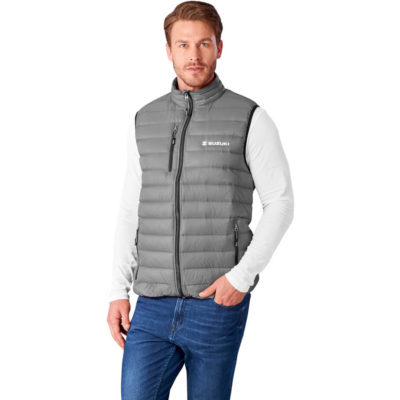 The Mens Scotia Light Down Bodywarmer is a grey 100% nylon dull cire 380T bodywarmer with a 80% down and 20% feather filling. With a padded and quilted liner and outing, zip pockets with branded zip puller, full zip with branded zip puller, chin protector, wind placket, chest zip pocket with branded zip puller and elasticated binding on the hem and armholes