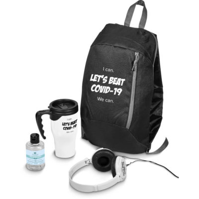 The Eva & Elm Loki Gift Set is a wellness set that includes white wired ABS headphones, matching coloured oduble wall 410ml travel mug, a black 600D polyester backpack and a 150ml waterless gel hand sanitiser in a PP flip top bottle