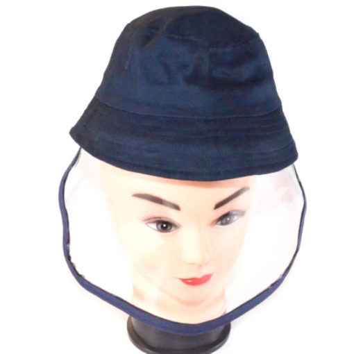 The Kiddies Bucket Hat Wiith Flexible Shield is a fabric navy bucket hat with a removable face shield thats available in either Hard PVC or flexible PET plastic