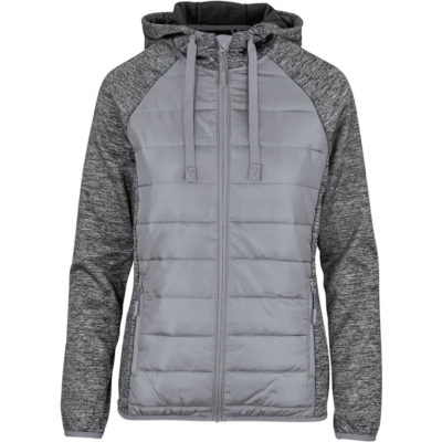 The Ladies Astana Jacket is a grey 100% polyester 95% polyester 5% spandex mixed fabric jacket with melange colour sleeves. With zip pockets that have branded zip pullers, a full zip with branded zip pullers, chin protector, partial wind placket, elasticated binding on the hemline and sleeve cuffs, a hood and reflective Slazenger logo on the back bottom hem