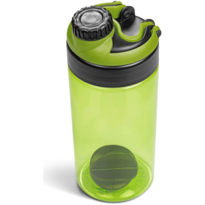 The Gianna Water Bottle Protein Shaker in lime green is made from tritan with a 600ml capacity.