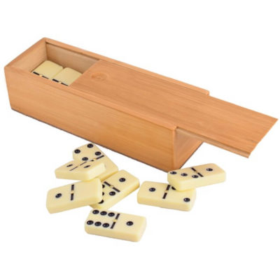 The Double Six Dominoe Set includes Includes 28 dominoes with slide lid closure.