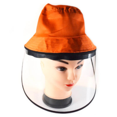 Kiddies Protective Face Shield Hat Orange - Hard Shield