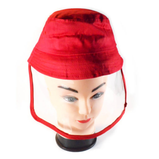 Kiddies Protective Face Shield Hat Red - Flexible Shield