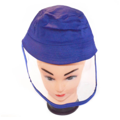 Kiddies Protective Face Shield Hat Blue - Flexible Shield