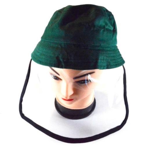 Kiddies Protective Face Shield Hat Green - Flexible Shield