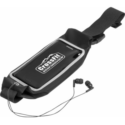 The Interval Running Pouch in black, made from lycra & ABS material. With a transparent front pouch to store your phone, keys and cash, an earphone outlet and an adjustable black waistband with a black plastic clip closure