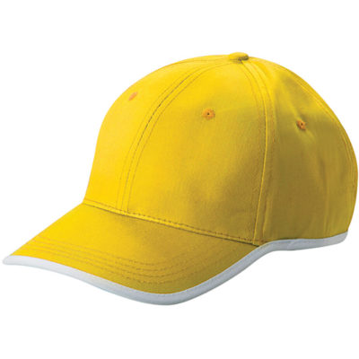 The State Cap is made from 100% brushed cotton twill. Available in yellow, with embroidered eyelets, a pre curved visor and contrast white trim detail along the peak