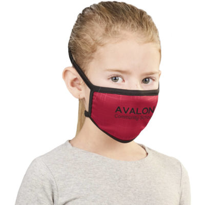 The Eva & Elm Sullivan Double Layer Junior Mask is a brightly coloured panel polyester mask with black flexi tie-backs