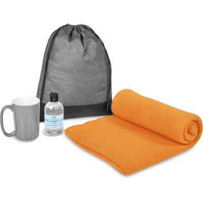 The Eva & Elm Galene 2 Gift Set is a warm winter set that includes a 250ml gel hand sanitiser in a flip top lid PET bottle, a 415ml AB ceramic grade grey mug, a 200g/m2 polyester fleece orange blanket and a black 500D with PVC tarpaulin and 80g/m2 non-woven fabric drawstring bag in black
