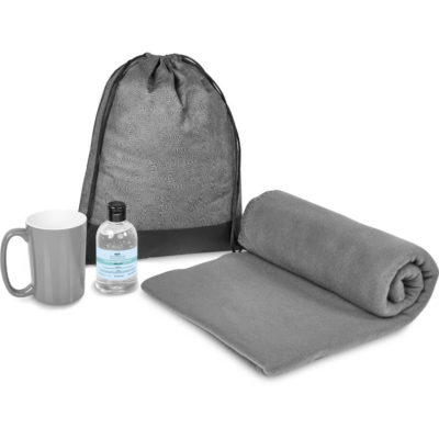 The Eva & Elm Galene 2 Gift Set is a warm winter set that includes a 250ml gel hand sanitiser in a flip top lid PET bottle, a 415ml AB ceramic grade grey mug, a 200g/m2 polyester fleece grey blanket and a black 500D with PVC tarpaulin and 80g/m2 non-woven fabric drawstring bag in black