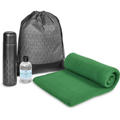 The Eva & Elm Kenna 2 Giftset inlcudes a 70% alcohol based waterless gel hand sanitiser in a 250ml PET bottle with a flip-top lid, a double wall stainless steel 500ml flask in grey, a 200g/m2 polyester fleece green blanket and a grey and black panel 80g/m2 non-woven drawstring bag with nylon strings and PVC tarpaulin panel inserts