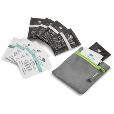 The Eva & Elm Avery Kit contains 5 x pre moistened anti bacterial wet wipes in a black foil pouch, 5 x waterless liquid hand sanitiser in a white foil pouch and a grey 600D fabric square grey pouch with lime green zip closure