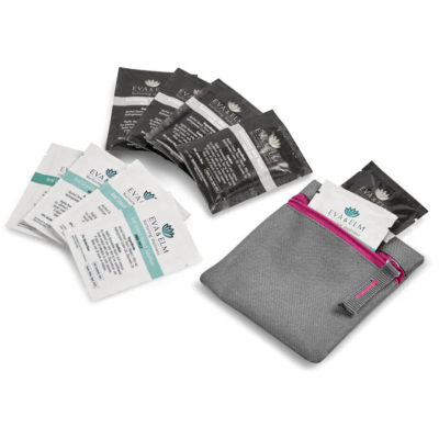 The Eva & Elm Avery Kit contains 5 x pre moistened anti bacterial wet wipes in a black foil pouch, 5 x waterless liquid hand sanitiser in a white foil pouch and a grey 600D fabric square grey pouch with pink zip closure