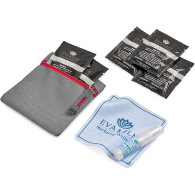 The Eva & Elm Riley Kit contains 5 x pre moistened anti bacterial wet wipes in a black foil pouch, a 5ml sanitising liquid spray in PET spray bottle, a square microfibre cloth and a grey 600D fabric square grey pouch with red zip closure