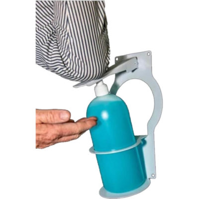 The Wall Mounted Elbow Sanitiser Dispenser is a stainless steel tool, designed to hold a 1 litre bottle of hand sanitiser and has a dispenser that can be operated with your elbow
