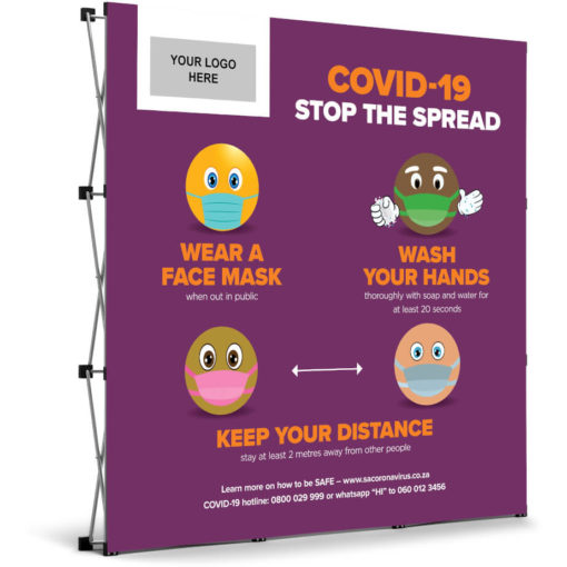 The Antares Covid-19 Banner Wall is a purple PVC square banner on a aluminium frame and stand. The banner mentions three ways you can prevent the spread of Covid-19 and has funky emojis for artwork with a rectangle branding spot in the top left corner. Packaged in an oxford fabric carry bag