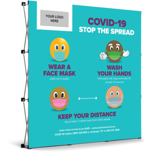 The Antares Covid-19 Banner Wall is a light blue PVC square banner on a aluminium frame and stand. The banner mentions three ways you can prevent the spread of Covid-19 and has funky emojis for artwork with a rectangle branding spot in the top left corner. Packaged in an oxford fabric carry bag