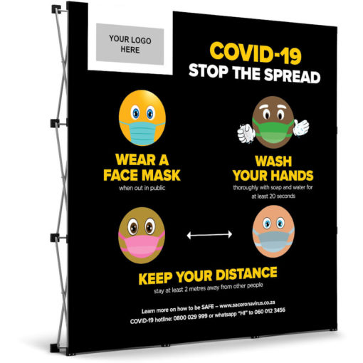 The Antares Covid-19 Banner Wall is a black PVC square banner on a aluminium frame and stand. The banner mentions three ways you can prevent the spread of Covid-19 and has funky emojis for artwork with a rectangle branding spot in the top left corner. Packaged in an oxford fabric carry bag