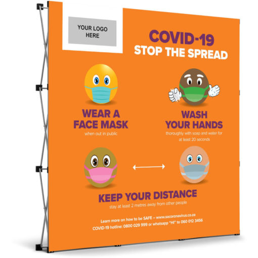 The Antares Covid-19 Banner Wall is an orange PVC square banner on a aluminium frame and stand. The banner mentions three ways you can prevent the spread of Covid-19 and has funky emojis for artwork with a rectangle branding spot in the top left corner. Packaged in an oxford fabric carry bag