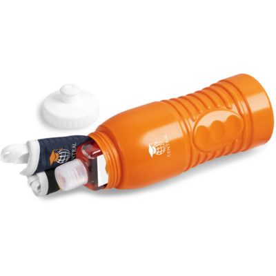 The Safety-1st Frankie Kit is a back to school kit that contains one black double layer polyester facemask, one navy double layer polyester facemask, an orange BPA free PP water bottle with a push-pull spout and ridges for a better grip and a 500ml capacity, a 50ml waterless gel sanitiser in a PET bottle with a flip-tip lid