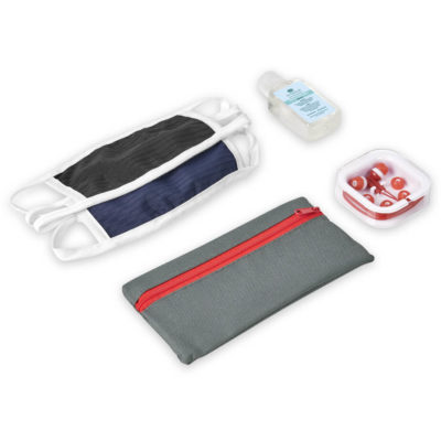 The Safety-1st Morgan Kit is a back to school kit that includes one black double-layer cotton-rich polyester face mask, one navy double-layer cotton-rich polyester face mask each with Flexi tie-backs and white trimming, silicone red in ear earbuds in a transparent case and a 600D grey fabric pencil case with red zip closure. With a 50ml waterless gel hand sanitiser in a PET fliptop lid bottle