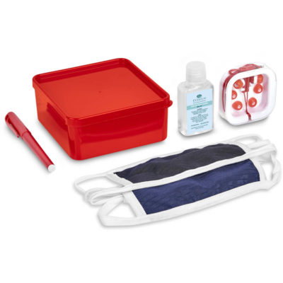 The Safety-1st Reese Kit is a back to school kit that contains one black double layer polyester facemask, one navy double layer polyester facemask, a red gel black ink pen. a red PP lunchbox with secure fitting lid, silicone red in ear earbuds in a transparent case and a 50ml waterless gel sanitiser in a PET bottle with a flip-tip lid