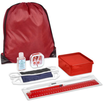 The Safety-1st Jordan Kit is a back to school kit that includes one black double-layer cotton-rich polyester face mask with Flexi tie-backs and white trimming, a sharpened wooden HB pencil, a plastic blue ink pen, a plastic 30cm ruler, a steel sharpener and a transparent PVC pencil case with ziplock closure. A red drawstring bag made from 210D fabric with black strings and corners. A red PP lunch box with a secure fitting lid. Silicone red in ear earbuds in a transparent case. With a 50ml waterless gel hand sanitiser in a PET fliptop lid bottle