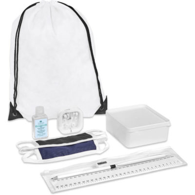 The Safety-1st Jordan Kit is a back to school kit that includes one black double-layer cotton-rich polyester face mask with Flexi tie-backs and white trimming, a sharpened wooden HB pencil, a plastic blue ink pen, a plastic 30cm ruler, a steel sharpener and a transparent PVC pencil case with ziplock closure. A white drawstring bag made from 210D fabric with black strings and corners. A white PP lunch box with a secure fitting lid. Silicone white in ear earbuds in a transparent case. With a 50ml waterless gel hand sanitiser in a PET fliptop lid bottle