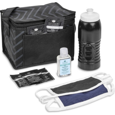 The Safety-1st Lenox Kit is a back to school kit that includes one black double-layer cotton-rich polyester face mask with Flexi tie-backs and white trimming. A black 500ml BPA free plastic water bottle with white push-pull nozzle and ridges for better grip. A 80g/m2 non-woven black cooler bag with 6can capacity, carry handle, foil lining and front pouch. 5 x pre moistened anti bacterial wet wipes in a rectangle foil pouch. With a 50ml waterless gel hand sanitiser in a PET fliptop lid bottle