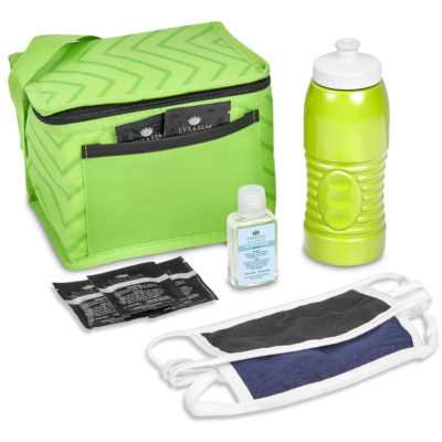 The Safety-1st Lenox Kit is a back to school kit that includes one black double-layer cotton-rich polyester face mask with Flexi tie-backs and white trimming. A lime 500ml BPA free plastic water bottle with white push-pull nozzle and ridges for better grip. A 80g/m2 non-woven lime cooler bag with 6can capacity, carry handle, foil lining and front pouch. 5 x pre moistened anti bacterial wet wipes in a rectangle foil pouch. With a 50ml waterless gel hand sanitiser in a PET fliptop lid bottle