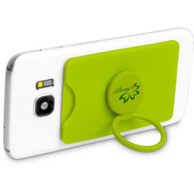 The Axial Phone Card Holder is a lime silicone mobile accessory. Rectangular card holder with a plastic circle phone grip that can be used as a stand