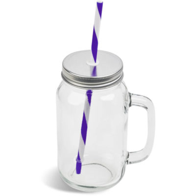 The Sundowner Drinking Jar In White Box is a 700ml glass drinkware item with a handle and stainless steel screw on lid and a PS purple candy stripe drinking straw. Packaged in a white gift box.