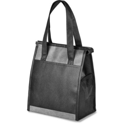 The Medley Lunch Cooler is an 80g/m2 non-woven fabric cooler bag lined with aluminium foil. With a large main compartment, smaller front pouch and long carry handles. Available in grey with contrasting black panels.