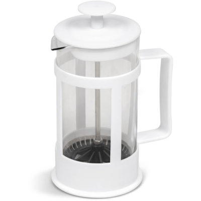 The Cuppa Joe Coffee Plunger is a 350ml borosilicate glass drinkware item with white BPA-free PP frame and handle detail. Packaged in a white giftbox
