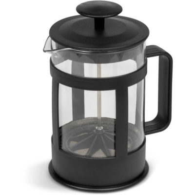 The Procaffeinating Coffee Plunger is a 850ml borosilicate glass drinkware item with black BPA-free PP frame and handle detail. Packaged in a white giftbox