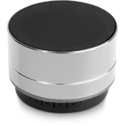 The Odeon Bluetooth Speaker is a silver ABS and aluminum portable Bluetooth speaker. ROund in shape with silver trimmings, functions buttons and a clear circular speaker on top that produces top quality audio