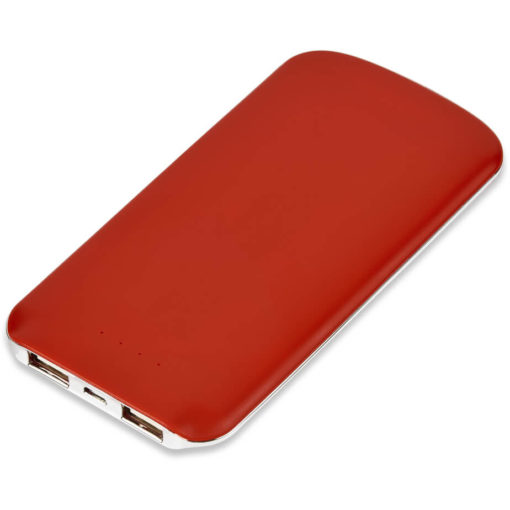 The Nomad 5000mAh Power Bank is a slimline ABS red powerbank. With two ports to charge two devices, a lithium polymer 5000mAh battery, 500 use life cycle, and includes a micro USB charging cable. Packaged in a gift box