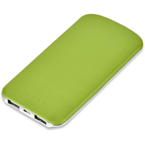 The Nomad 5000mAh Power Bank is a slimline ABS lime powerbank. With two ports to charge two devices, a lithium polymer 5000mAh battery, 500 use life cycle, and includes a micro USB charging cable. Packaged in a gift box
