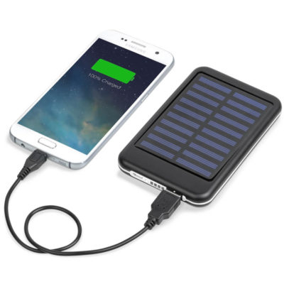 The Eclipse 5000mAh Solar Power Bank is an aluminium and ABs portable charger with a sonar panel that allows the 5000mAh lithium pollymer battery to be recharged by the sun. Includes micro USB charging cable